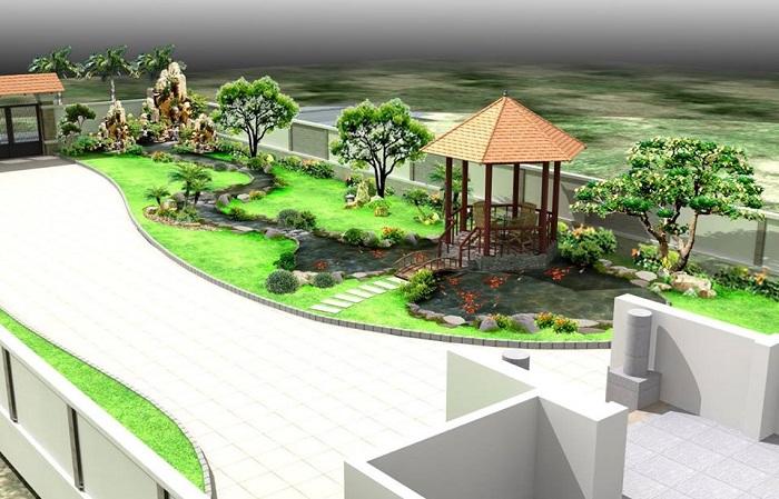 Quy trình thiết kế thi công sân vườn tại Việt Hoa Viên