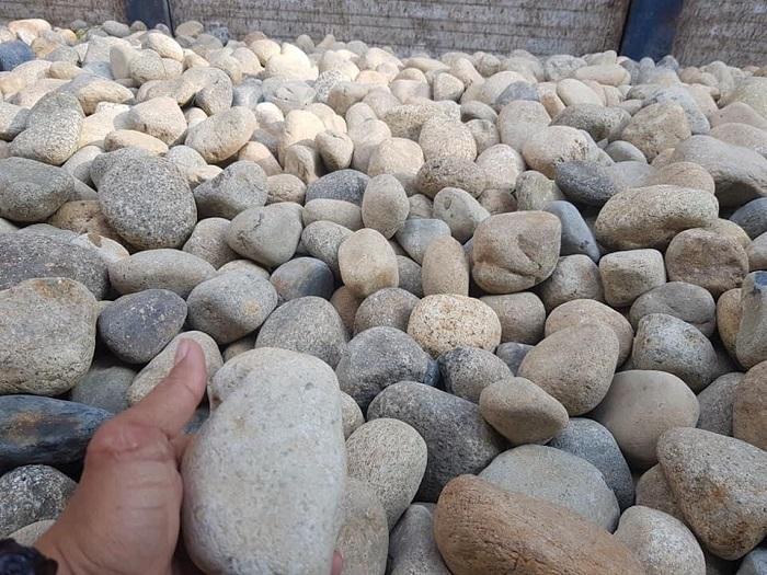 Hình ảnh đá cuội trong thi công sân vườn