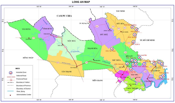 Bản đồ tỉnh Long An, Việt Nam