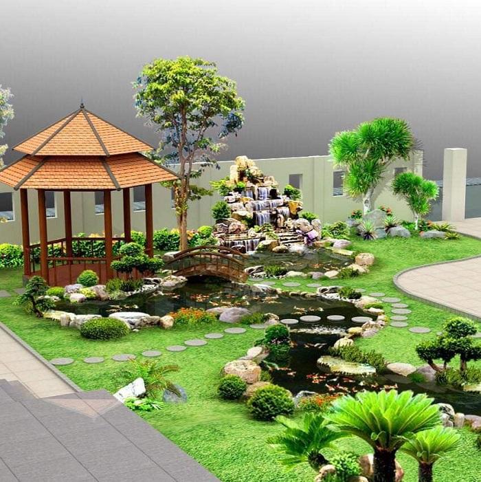 Mẫu 27: Thiết kế hòn non bộ sân vườn đẹp đến từng chi tiết nhỏ nhất