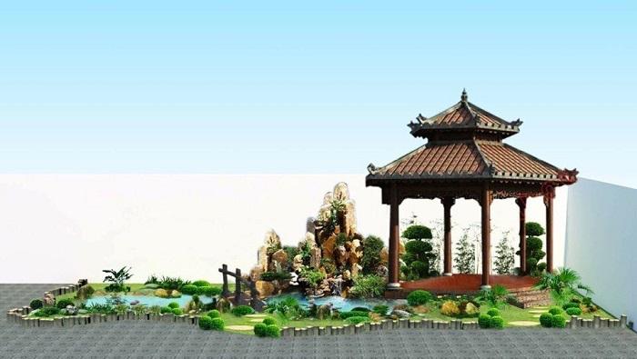 Mẫu 11: Hòn non bộ sân vườn nhỏ cho diện tích hẹp