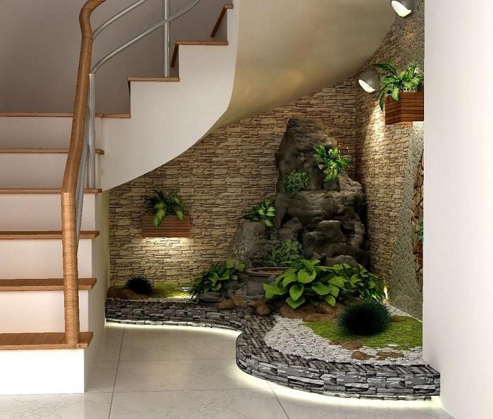 Mẫu 5: Hòn non bộ dưới cầu thang