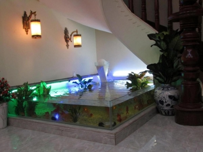 Một kiệt tác hồ cá Koi dưới cầu thang