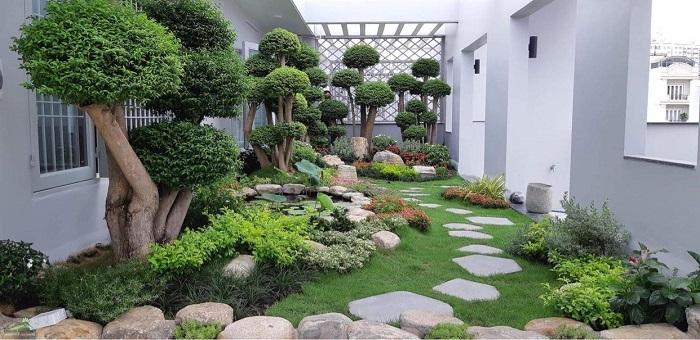 Mảng xanh thiên nhiên trong không gian sân vườn