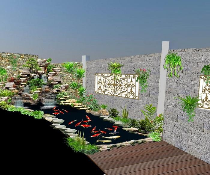Khó cưỡng với thiết kế hồ cá Koi ở góc sân vườn
