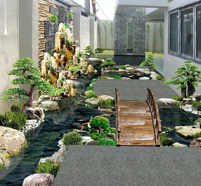 Mẫu cảnh quan sân vườn hồ cá, đá trang trí, hòn non bộ cực thẩm mỹ