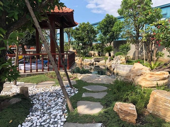 Mẫu thiết kế cảnh quan có kèm nhà chòi cho sân vườn