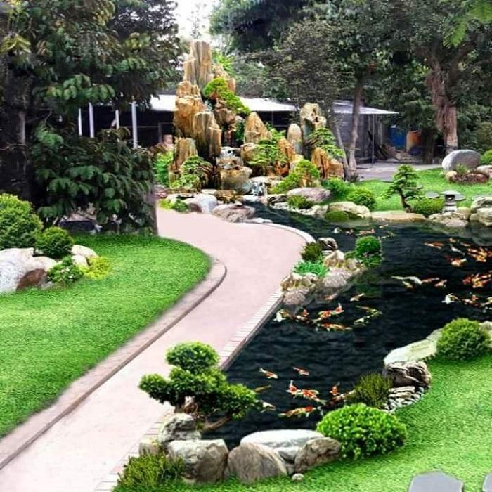Công trình hồ cá Koi đẹp ở sân vườn
