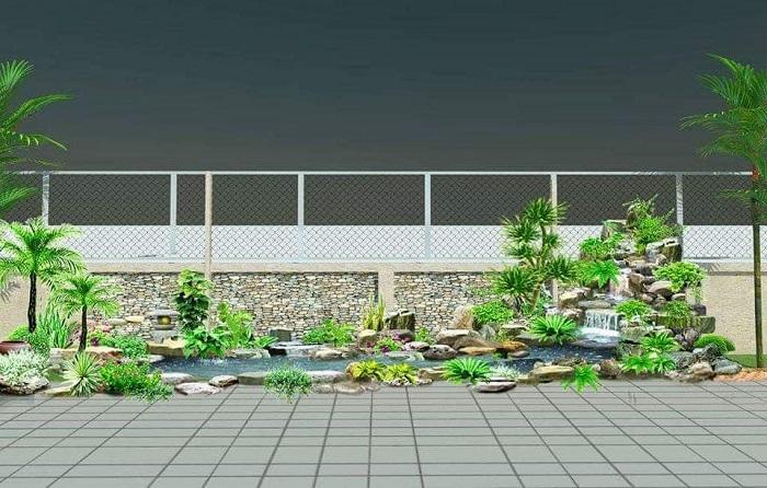 Một góc sân vườn được thiết kế cảnh quan xanh