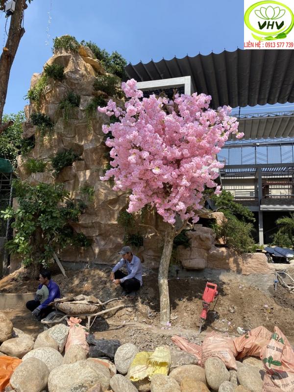 Góc chụp thi công cây hoa đào giả
