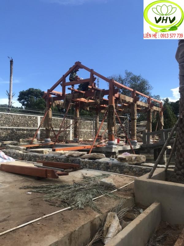Công trình nhà chòi đang thi công